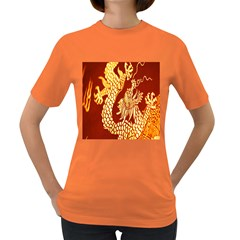 Fabric Pattern Dragon Embroidery Texture Women s Dark T-Shirt