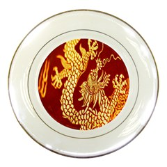 Fabric Pattern Dragon Embroidery Texture Porcelain Plates