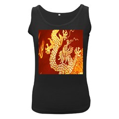 Fabric Pattern Dragon Embroidery Texture Women s Black Tank Top