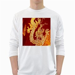 Fabric Pattern Dragon Embroidery Texture White Long Sleeve T-Shirts