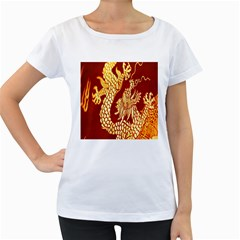 Fabric Pattern Dragon Embroidery Texture Women s Loose-Fit T-Shirt (White)