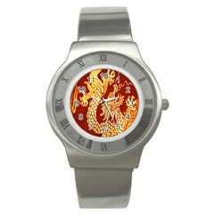 Fabric Pattern Dragon Embroidery Texture Stainless Steel Watch