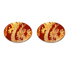Fabric Pattern Dragon Embroidery Texture Cufflinks (oval)