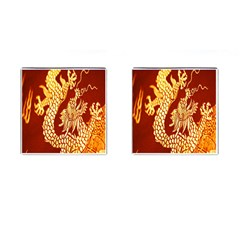 Fabric Pattern Dragon Embroidery Texture Cufflinks (square)