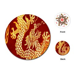 Fabric Pattern Dragon Embroidery Texture Playing Cards (Round)