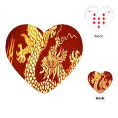 Fabric Pattern Dragon Embroidery Texture Playing Cards (Heart)