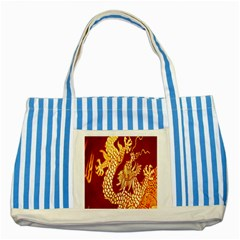 Fabric Pattern Dragon Embroidery Texture Striped Blue Tote Bag