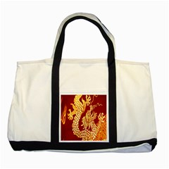 Fabric Pattern Dragon Embroidery Texture Two Tone Tote Bag
