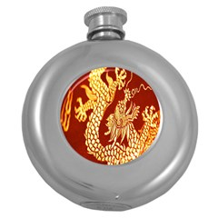 Fabric Pattern Dragon Embroidery Texture Round Hip Flask (5 Oz)