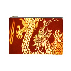 Fabric Pattern Dragon Embroidery Texture Cosmetic Bag (large)