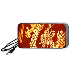 Fabric Pattern Dragon Embroidery Texture Portable Speaker (Black)