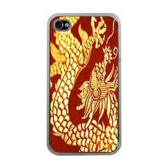 Fabric Pattern Dragon Embroidery Texture Apple iPhone 4 Case (Clear)