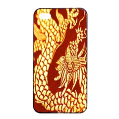 Fabric Pattern Dragon Embroidery Texture Apple iPhone 4/4s Seamless Case (Black)