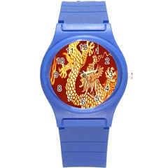 Fabric Pattern Dragon Embroidery Texture Round Plastic Sport Watch (S)