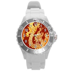 Fabric Pattern Dragon Embroidery Texture Round Plastic Sport Watch (L)