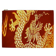 Fabric Pattern Dragon Embroidery Texture Cosmetic Bag (xxl)