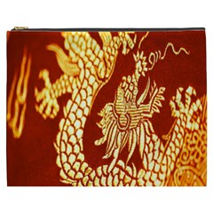 Fabric Pattern Dragon Embroidery Texture Cosmetic Bag (xxxl)