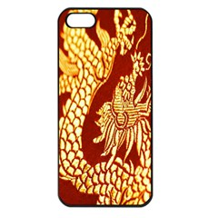 Fabric Pattern Dragon Embroidery Texture Apple iPhone 5 Seamless Case (Black)