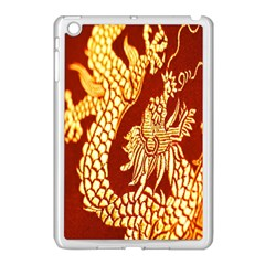 Fabric Pattern Dragon Embroidery Texture Apple iPad Mini Case (White)