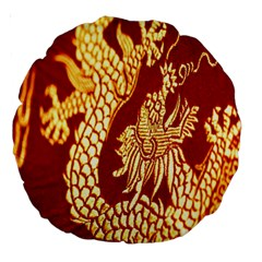 Fabric Pattern Dragon Embroidery Texture Large 18  Premium Round Cushions