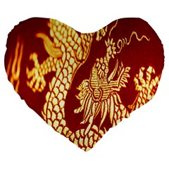 Fabric Pattern Dragon Embroidery Texture Large 19  Premium Heart Shape Cushions