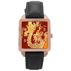 Fabric Pattern Dragon Embroidery Texture Rose Gold Leather Watch