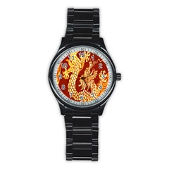 Fabric Pattern Dragon Embroidery Texture Stainless Steel Round Watch