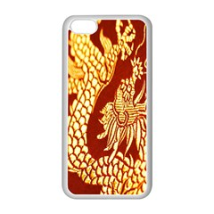 Fabric Pattern Dragon Embroidery Texture Apple iPhone 5C Seamless Case (White)