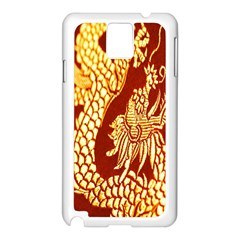 Fabric Pattern Dragon Embroidery Texture Samsung Galaxy Note 3 N9005 Case (White)