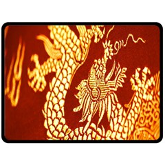 Fabric Pattern Dragon Embroidery Texture Double Sided Fleece Blanket (Large)