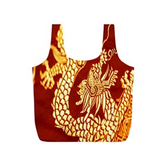 Fabric Pattern Dragon Embroidery Texture Full Print Recycle Bags (S)