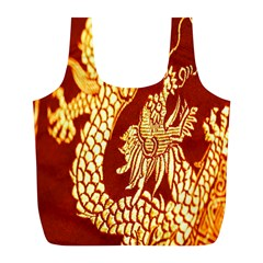 Fabric Pattern Dragon Embroidery Texture Full Print Recycle Bags (L)