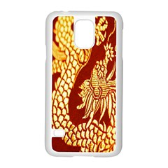 Fabric Pattern Dragon Embroidery Texture Samsung Galaxy S5 Case (White)