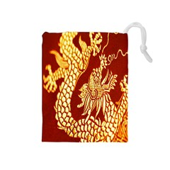 Fabric Pattern Dragon Embroidery Texture Drawstring Pouches (medium)