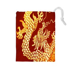 Fabric Pattern Dragon Embroidery Texture Drawstring Pouches (large)