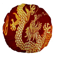 Fabric Pattern Dragon Embroidery Texture Large 18  Premium Flano Round Cushions