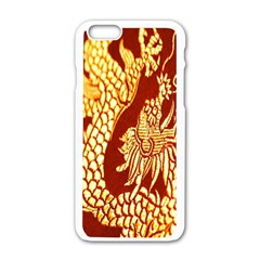 Fabric Pattern Dragon Embroidery Texture Apple iPhone 6/6S White Enamel Case