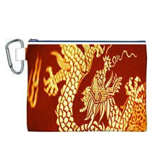 Fabric Pattern Dragon Embroidery Texture Canvas Cosmetic Bag (L)