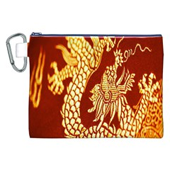 Fabric Pattern Dragon Embroidery Texture Canvas Cosmetic Bag (xxl)