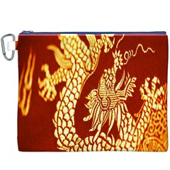 Fabric Pattern Dragon Embroidery Texture Canvas Cosmetic Bag (XXXL)