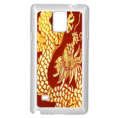 Fabric Pattern Dragon Embroidery Texture Samsung Galaxy Note 4 Case (White)
