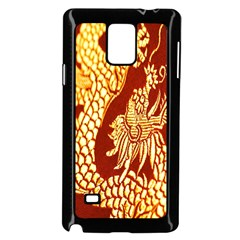 Fabric Pattern Dragon Embroidery Texture Samsung Galaxy Note 4 Case (black)