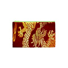 Fabric Pattern Dragon Embroidery Texture Cosmetic Bag (XS)