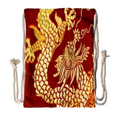 Fabric Pattern Dragon Embroidery Texture Drawstring Bag (Large)