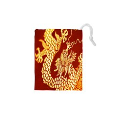 Fabric Pattern Dragon Embroidery Texture Drawstring Pouches (XS)