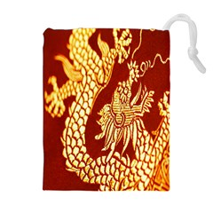 Fabric Pattern Dragon Embroidery Texture Drawstring Pouches (Extra Large)