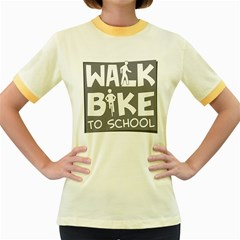 Bicycle Walk Bike School Sign Grey Women s Fitted Ringer T Shirts