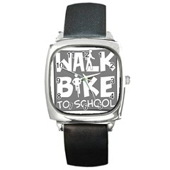 Bicycle Walk Bike School Sign Grey Square Metal Watch