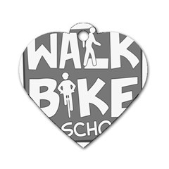 Bicycle Walk Bike School Sign Grey Dog Tag Heart (two Sides)