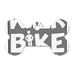 Bicycle Walk Bike School Sign Grey Dog Tag Bone (Two Sides)